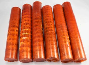 SHARK VERTEBRAE PEN BLANK ORANGE - 1